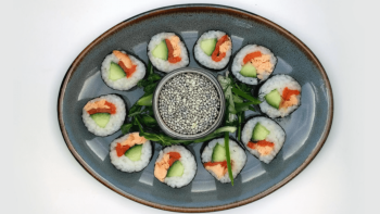 Salmon, Cucumber & Roasted Red Pepper Sushi